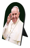 Pope Francis Waving Arched Desk Plaque
