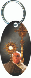Pope Francis with Monstrance Oval Keychain
