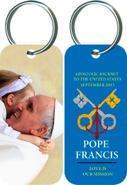Pope Francis Embracing a Child Commemorative Apostolic Journey Keychain