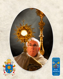 Pope Francis with Monstrance Commemorative Sleeved Print