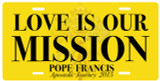 Love Is Our Mission: Pope Francis Apostolic Journey 2015 License Plate