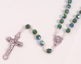 Green 6mm Emerald Glass Bead Rosary
