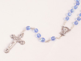 Blue 6mm Sapphire Glass Bead Rosary