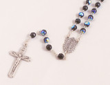 Amethyst 6mm Black Glass Bead Rosary with Miraculous Medal Center