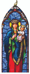 Our Lady of Czestochowa Stained Glass Wood Ornament