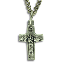 """Pope Francis Cross Pendant 1-1/8"""" with Chain"""