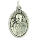 Pope Francis Medal 1 in. Die Cast Italian Silver Plated - Pray for Us