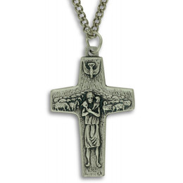 """Pope Francis Cross Pendant 2"""" with Chain"""