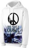 Full Color Give Peace A Chance White 2nds Quality Hoodie