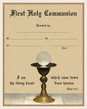 Modern First Communion Sacrament Certificate with Chalice Unframed