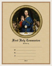 Modern First Communion Sacrament Certificate with Madonna of the Host Unframed