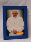 Emeritus Pope Benedict XVI 5x7 Blue Framed Print