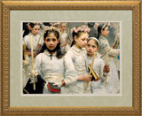 After the First Holy Communion (Detail 3 Girls) Matted - Standard Gold Framed Art