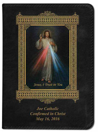 Personalized Catholic Bible with Divine Mercy Cover - Black NABRE