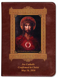 Personalized Catholic Bible with For God So Loved the World Cover - Burgundy RSVCE