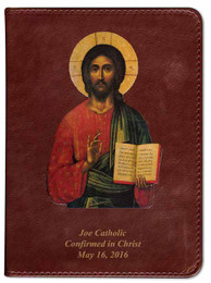 Personalized Catholic Bible with Christ Pantocrator Icon Cover - Burgundy RSVCE