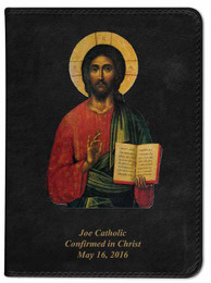 Personalized Catholic Bible with Christ Pantocrator Icon Cover - Black NABRE