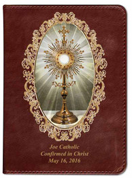 Personalized Catholic Bible with Monstrance Cover - Burgundy RSVCE