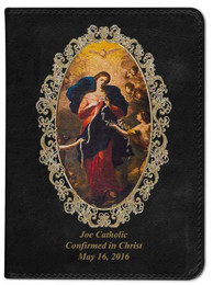 Personalized Catholic Bible with Mary Undoer of Knots Cover - Black RSVCE