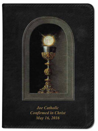 Personalized Catholic Bible with Eucharistic Cover - Black NABRE