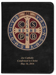 Personalized Catholic Bible with Benedictine Medal Cover - Black RSVCE