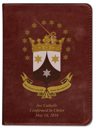 Personalized Catholic Bible with Ancient Carmelite Crest Cover - Burgundy RSVCE