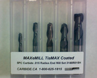 5 PC 3148H MAXeMILL 2FL Carbide .015 Radius End Mill Set