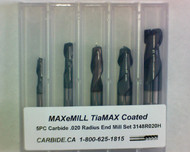 5 PC 3148H MAXeMILL 2FL Carbide .020 Radius End Mill Set
