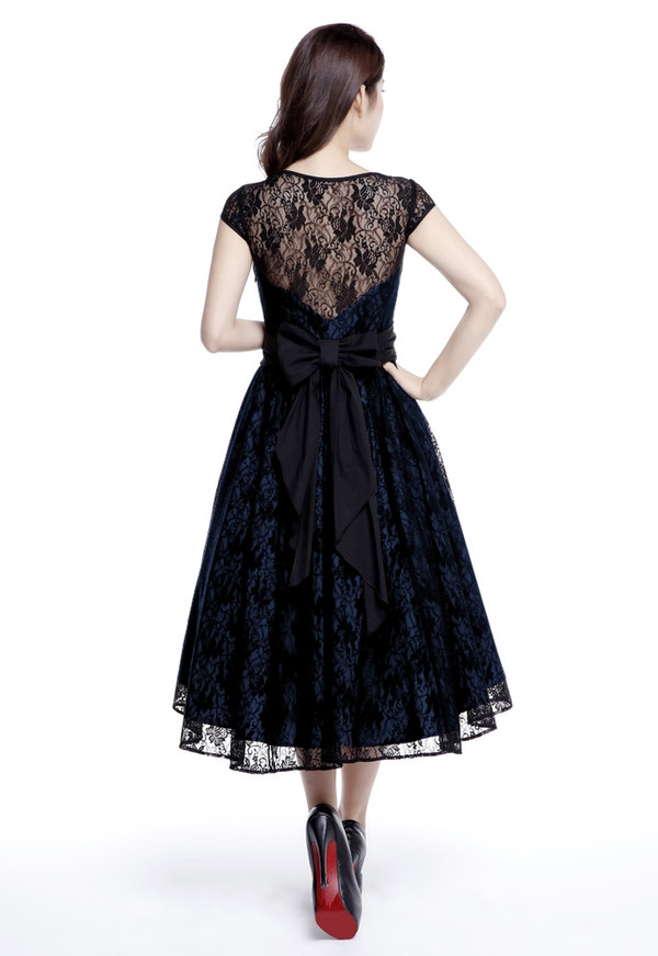 Plus Lovely Lace Dress with High-low Design