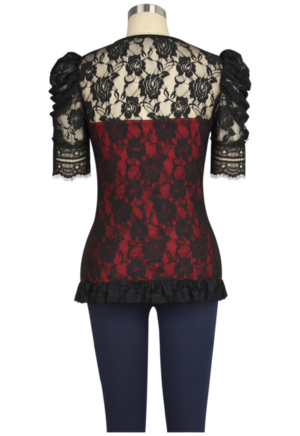 Lace Covered Victorian Red Top
