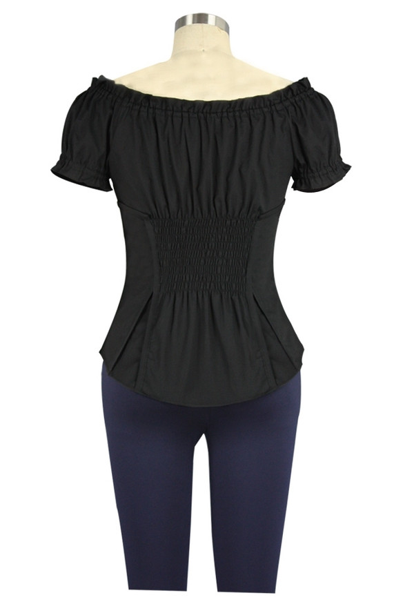 Peasant Style Top with Corset Detailing