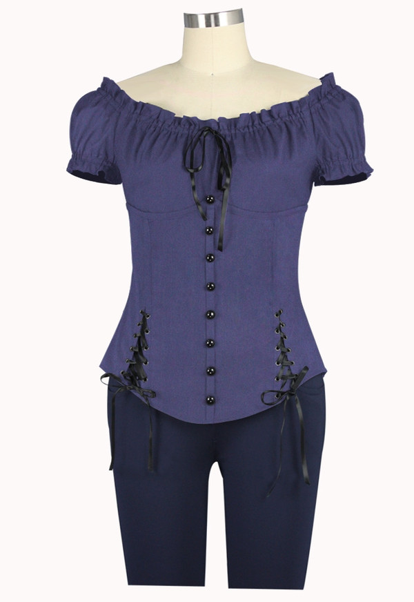 Plus Peasant Style Top with Corset Detailing