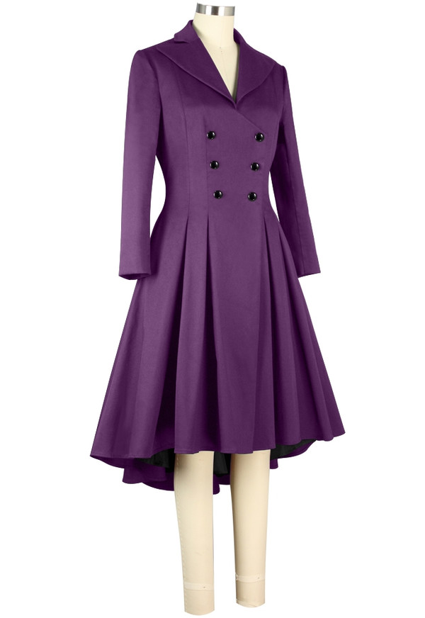 Plus Double Breasted Purple High Low Coat
