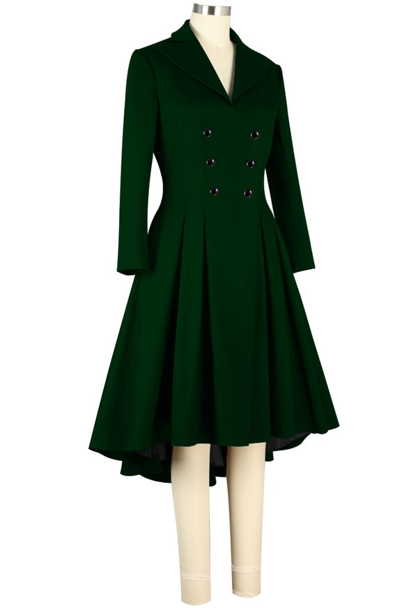 Plus Double Breasted Dark Green High Low Coat