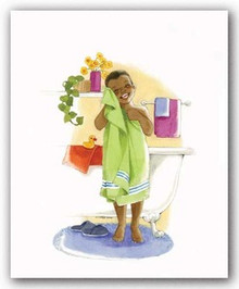 Bath Time Giggles - Boy Art Print - Sylvia Walker