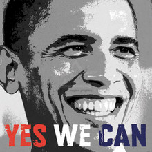 Barack Obama - Yes We Can Photo (12 x 12in) Art Print