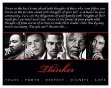 Thinker (Quintet): Peace, Power, Respect, Dignity, Love 8 x 10 Art Print