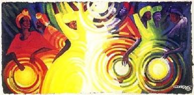 Tambourines, Talking Drums & Smoke Signals Art Print - Bernard Hoyes