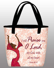 I Will Praise You O Lord in red - Inspirational Tote Bag
