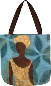 Ebony Art Blue Tote Bag 18 x 18in