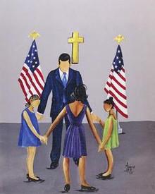 A Family That Prays Together Stays Together - Barack Obama Art Print - Annie Lee