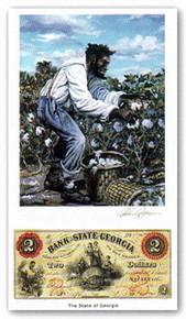 Color of Money - Slave Harvesting Cotton: Georgia Art Print - John Jones