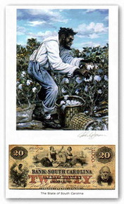 Color of Money - Slave Harvesting Cotton: South Carolina Art Print - John Jones