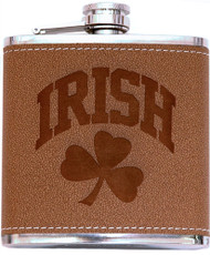 Irish Shamrock Leather Flask | Irish Rose Gifts