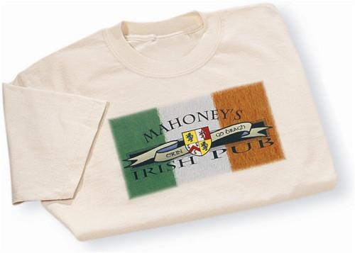 Irish Coat of Arms Flag Pub Tee Shirt Natural | Irish Rose Gifts