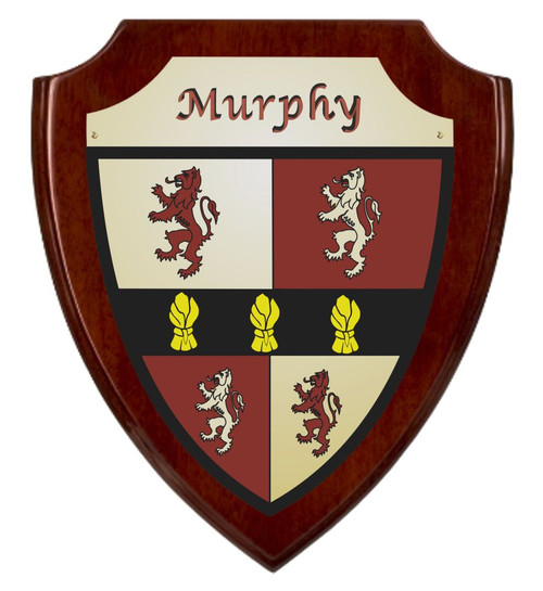 Irish Coat of Arms Shield Plaque -Rosewood Piano Finish Murphy