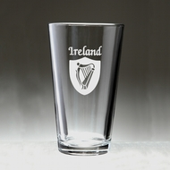 Irish Shield Harp Pint Glass - Set of 4 (Sand Etched)