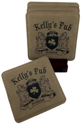 Personalized Shamrock Coaster set - Set of 4 with Wood Stand