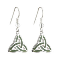 Trinity Knot Earrings with Connemara Marble sterling Silver