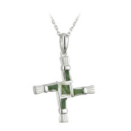 St Brigid's Cross Necklace Connemara Marble - Sterling Silver